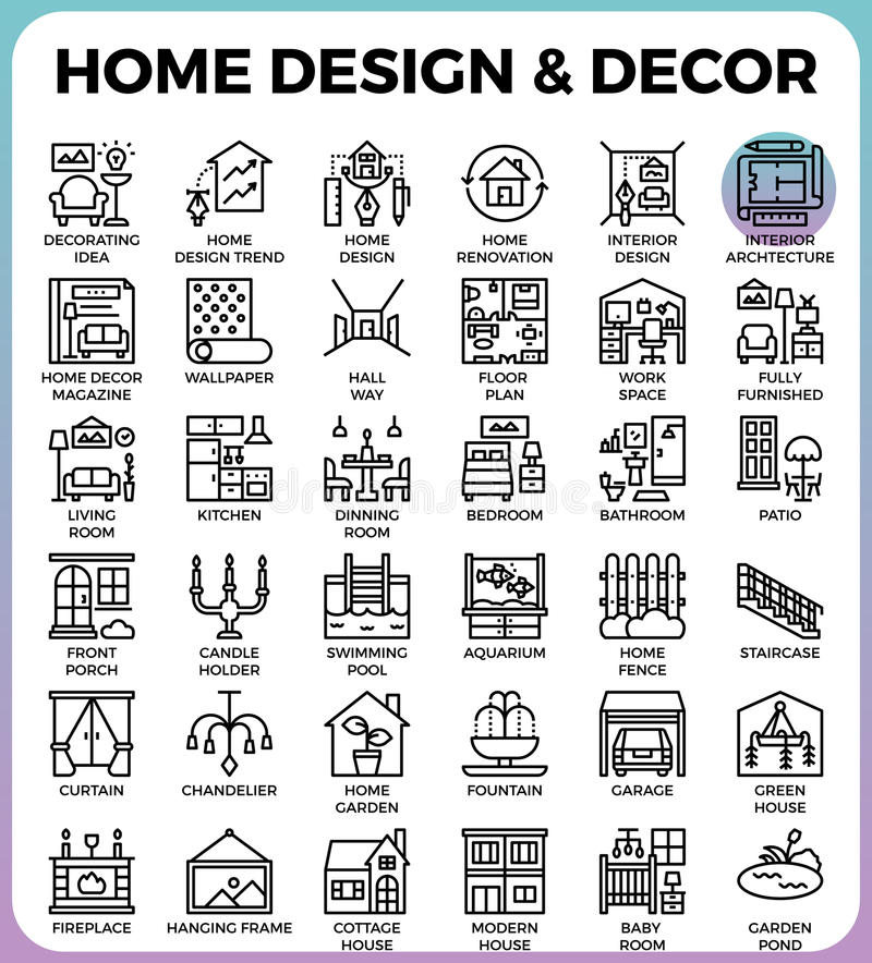 Download Home Design And Decor Icons Stock Vector   Illustration Of  Element, Furniture: 93320648