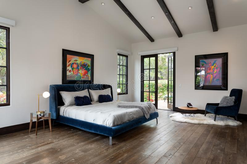 Home design remodel bedroom with modern furnishings. French doors, bear rug stock photography