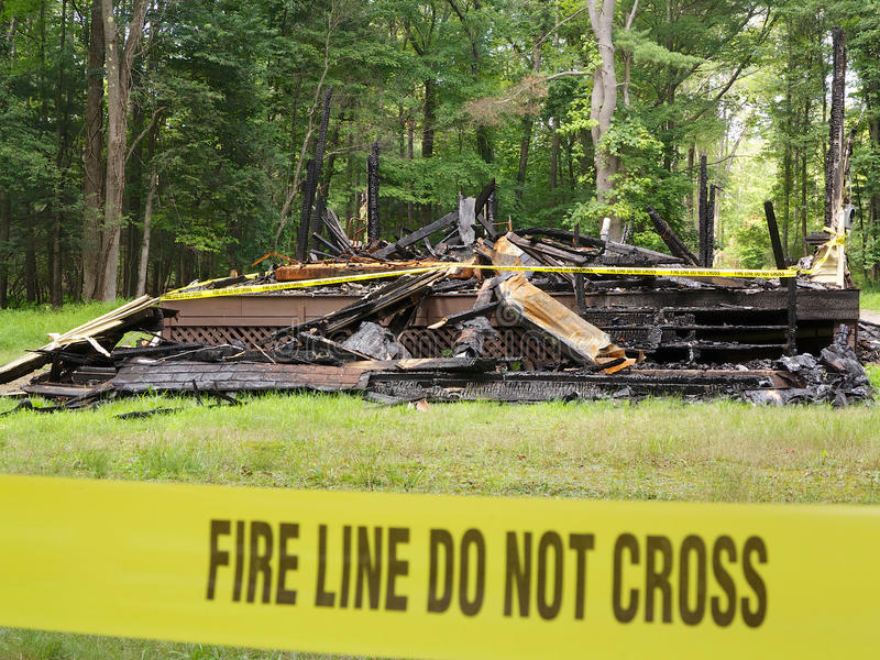 Home Destroyed by Fire stock photography
