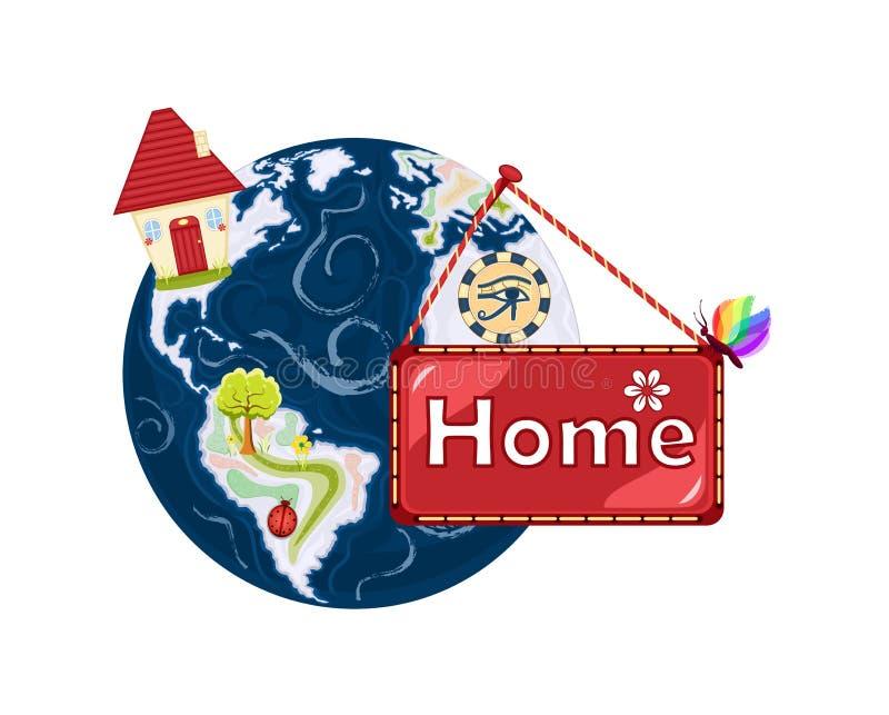 HOME doce Home - terra do planeta ilustração royalty free