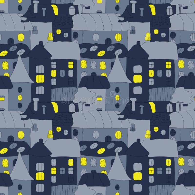 HOME doce Home Teste padrão sem emenda desenhado à mão com a cidade velha do doddle na noite Teste padrão sem emenda do vetor bon ilustração stock