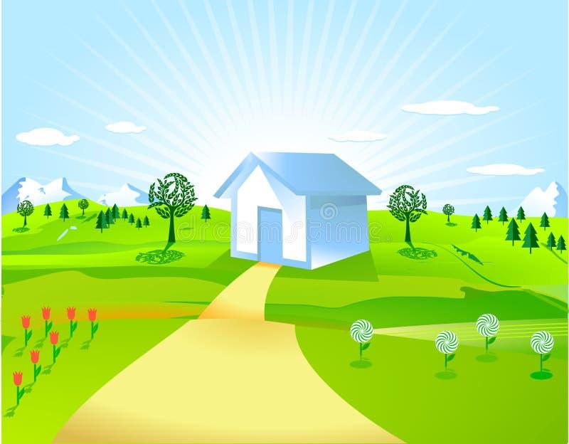 HOME e campo ilustração stock