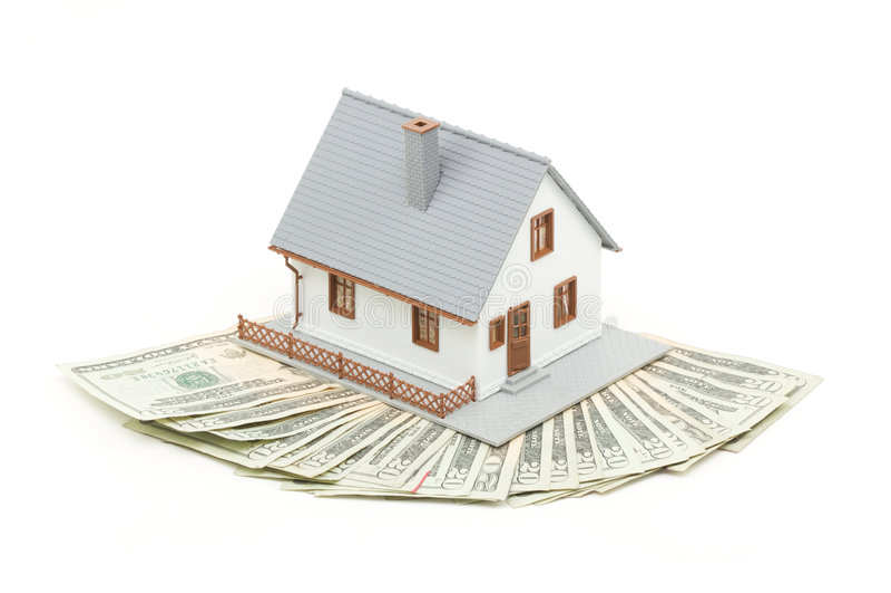 HOME e dinheiro fotografia de stock
