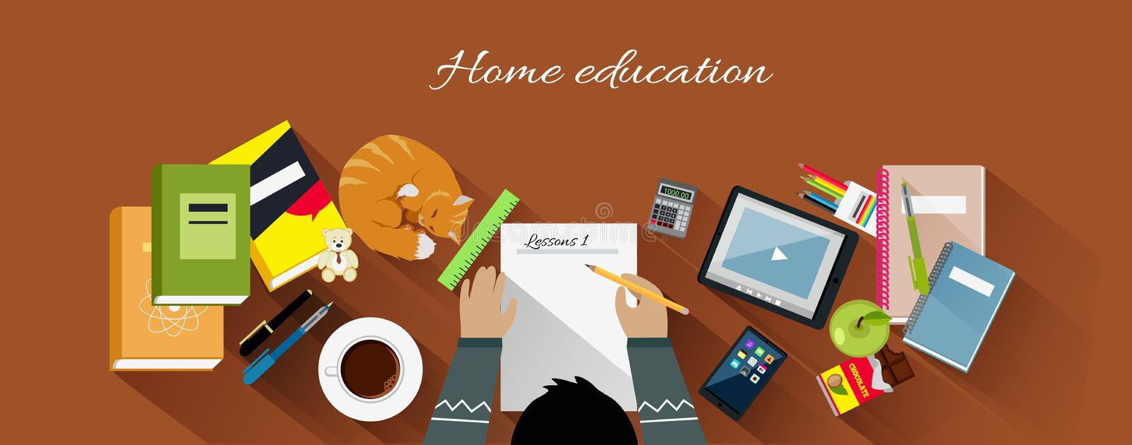 Home Education Flat Design Concept stock illustration