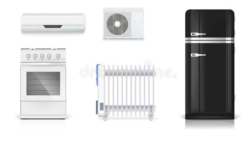 Home electrical appliances. Air conditioning, electric oil radiator, refrigerator with retro design, gas stove. Set stock illustration