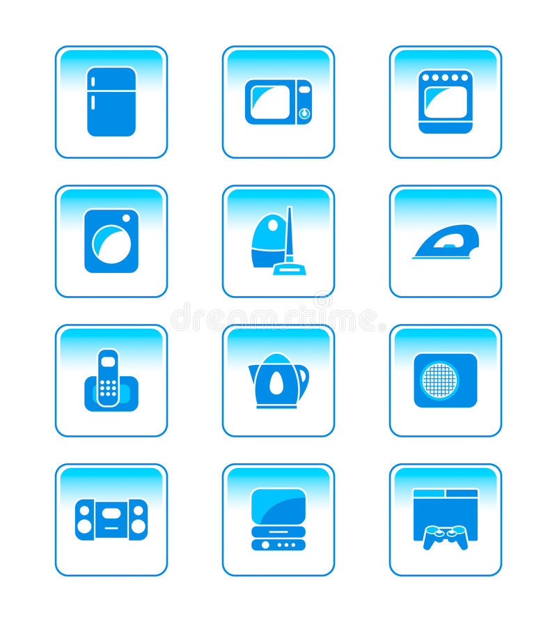 Download Home electronics icons stock vector. Image of refrigerator - 4238830