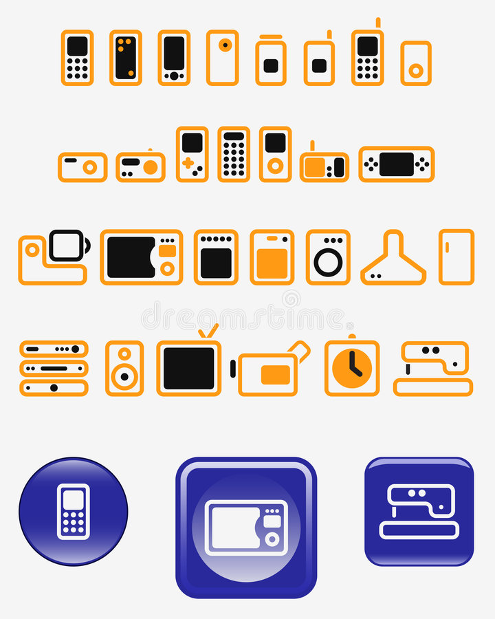 Download Home Electronics - Set Of Vector Icons (buttons) Stock Vector - Image: 8621983