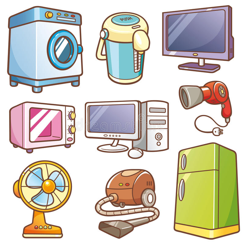 Home electronics. Vector Illustration of Cartoon Home electronics vector illustration