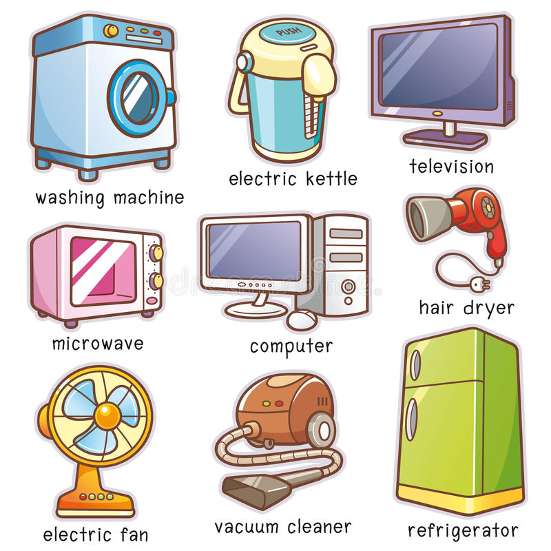 Home electronics. Vector Illustration of Cartoon Home electronics vocabulary royalty free illustration