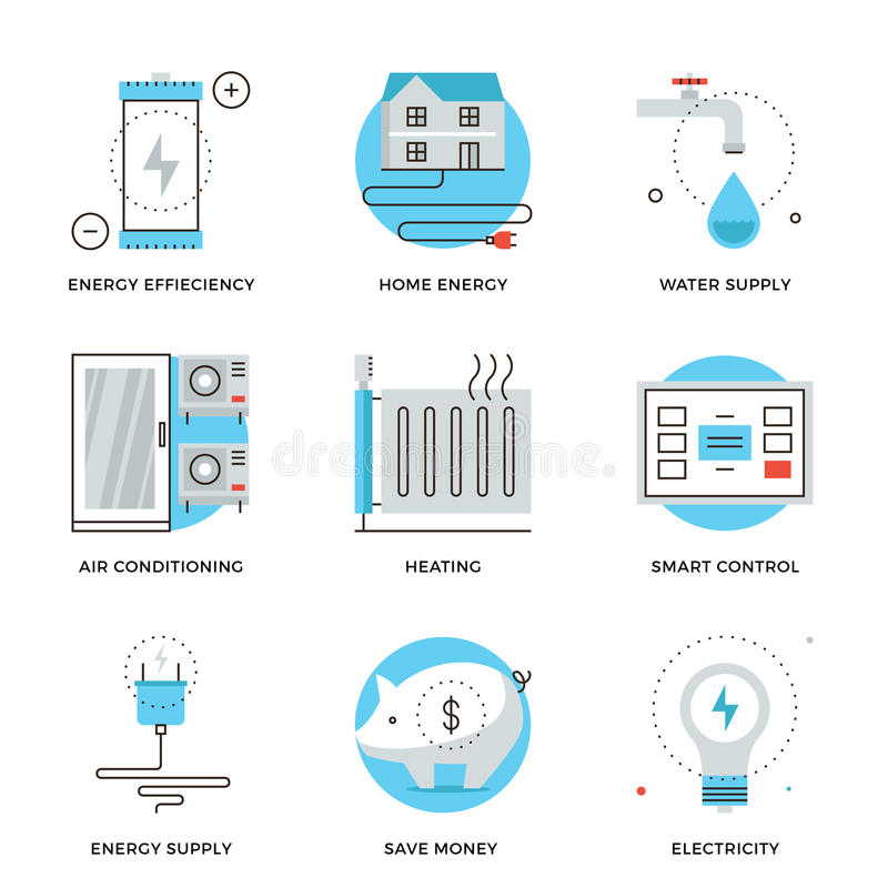 Home energy efficiency line icons set stock vector for Energy smart home