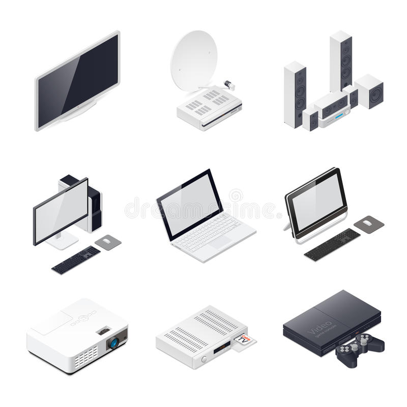 Home entertainment devices isometric icon. Vector graphic illustration royalty free illustration