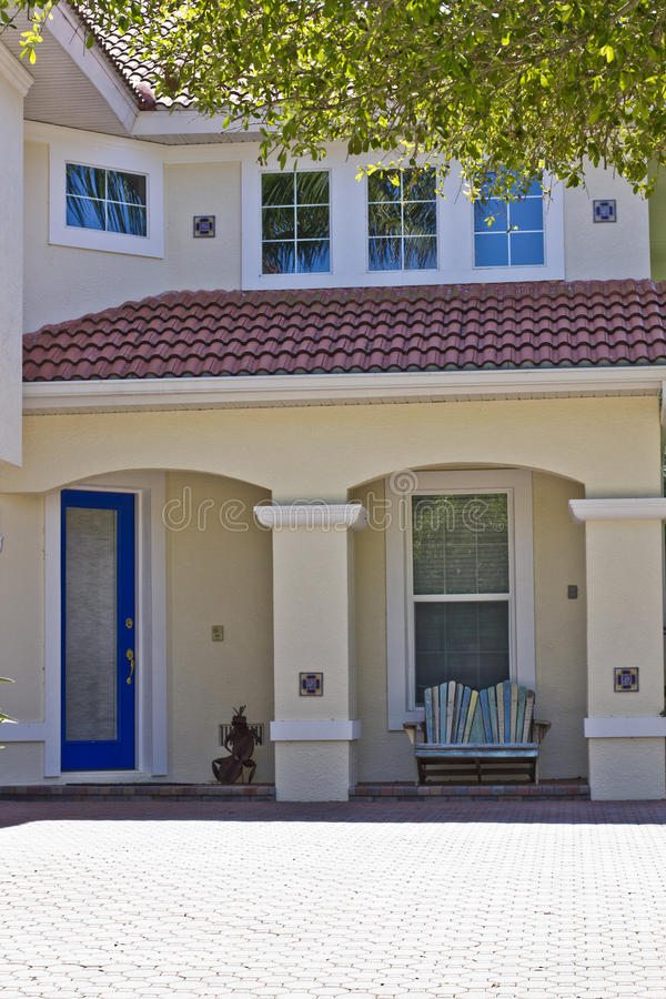 Home Entrance. Attractive home entry with bench stock images