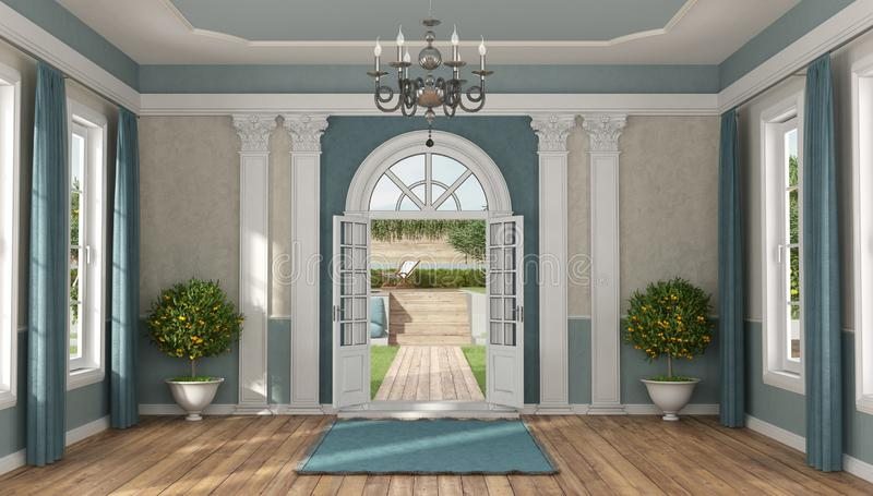 Home entrance of a luxury villa vector illustration