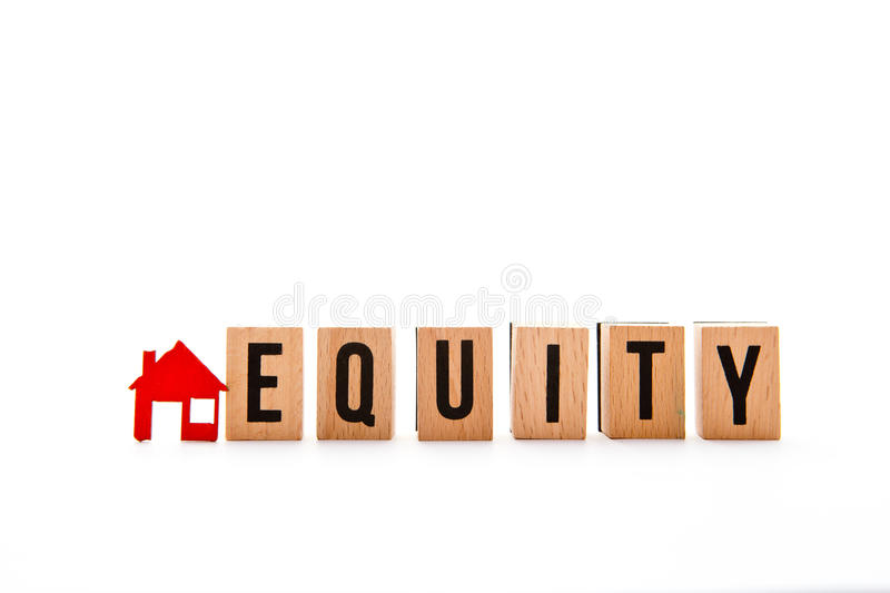 Home Equity. Block letters with red home / house icon with white background stock photo