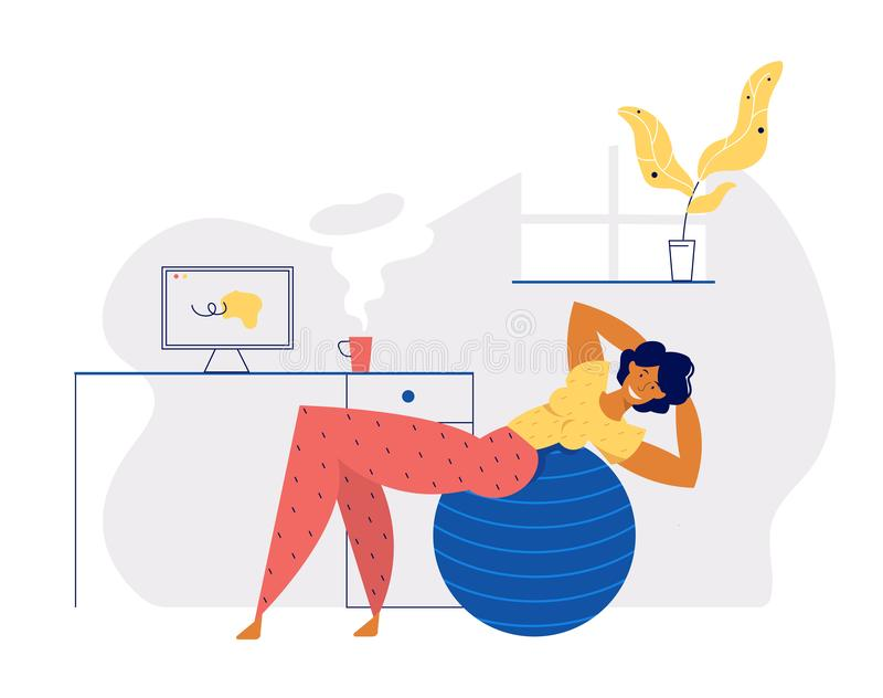 Home Exercisive Positive Healthy Lifestyle Concept with Smiling Girl Character Doing Aerobic with Fitness Ball at Home illustrazione di stock