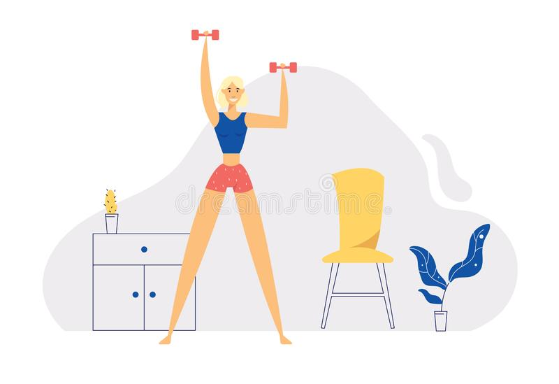 Home Exerciss Positive Healthy Lifestyle Concept with Smiling Girl Character Do Aerobic with Dumbbells at Home royalty illustrazione gratis