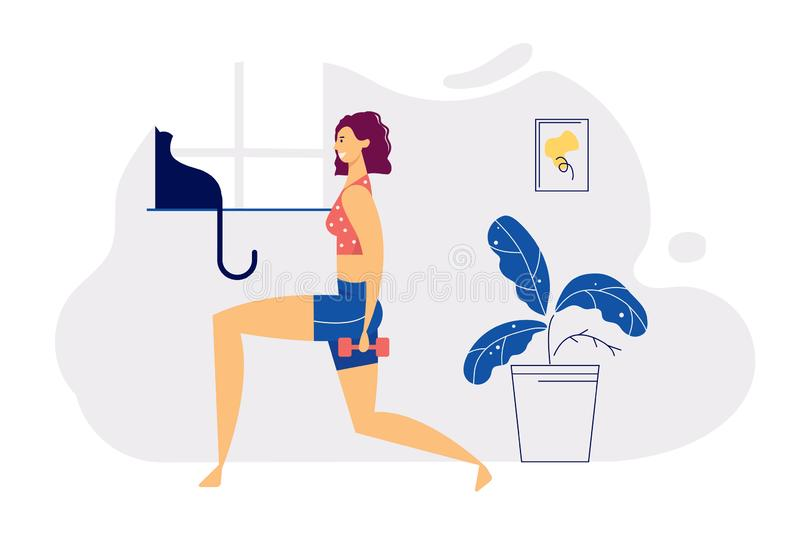 Home Exerciss Positive Healthy Lifestyle Concept with Smiling Girl Character Do Aerobic with Dumbbells at Home illustrazione di stock