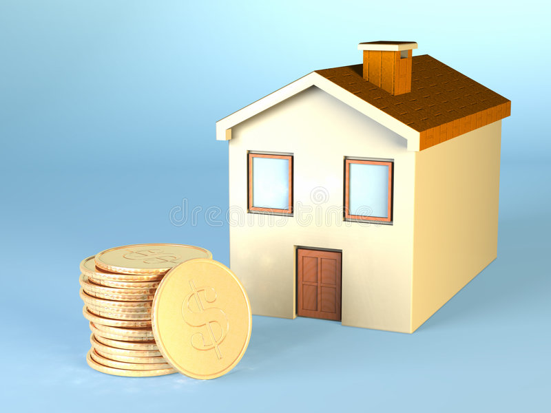Home expenses. Some dollar coins and a small house. CG illustration vector illustration