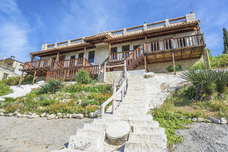 Home exterior stone steps. royalty free stock photo