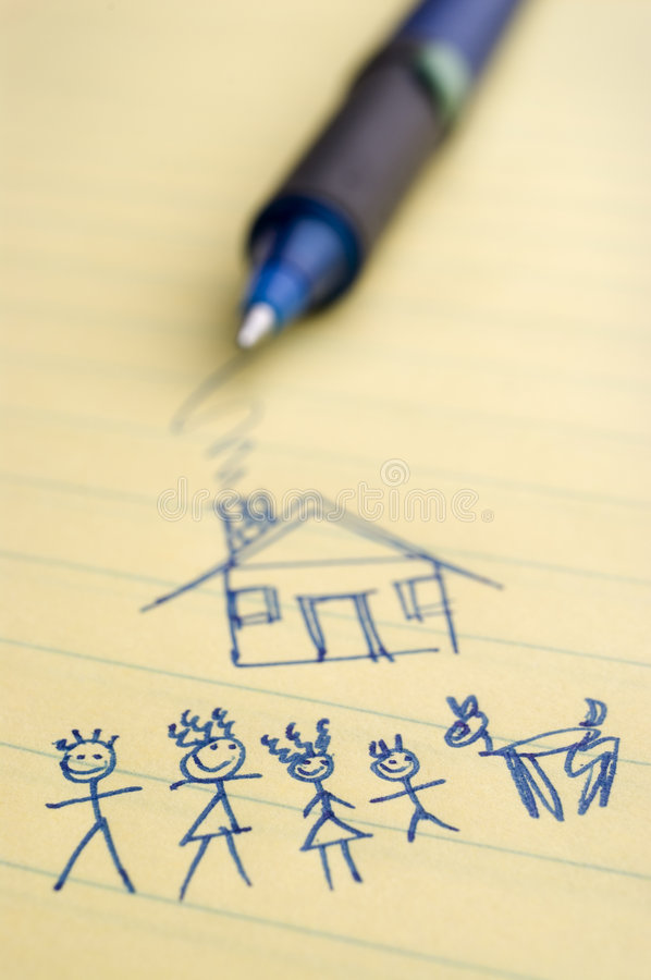 Home and Family. Closeup image of a sketch of a family and home with pen in background
