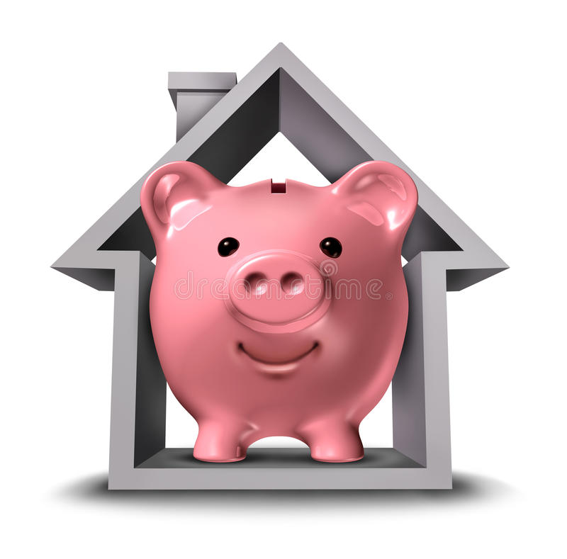 Home Finances. And real estate finance with a pink ceramic piggy bank in a house structure symbol representing the housing industry mortgage savings plan and royalty free illustration