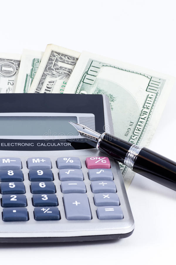Home finances. Studio shot of a calculator, fountain pen and US Dollars isolated on white background royalty free stock photos