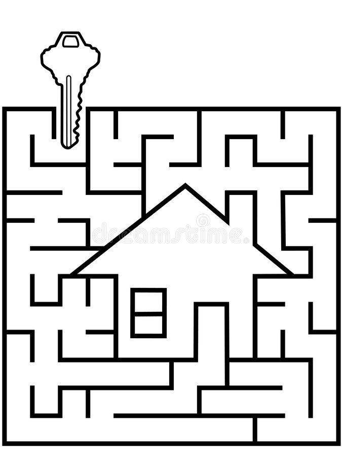 Home Finder maze puzzle with house key vector illustration
