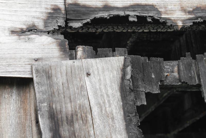 Broken Rain Gutters Ice Dam Closeup On New Broken Rain