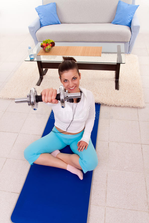 Home fitness training royalty free stock image