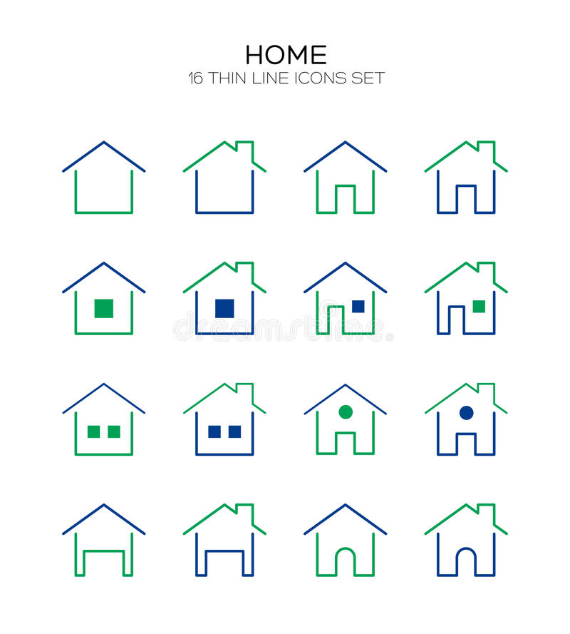 Home flat icon. Home icon set. Collection of house line icons. 16 high quality logo of home button on white background. Pack of symbols for design website vector illustration