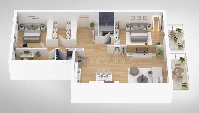 Home floor plan top view 3D illustration stock illustration