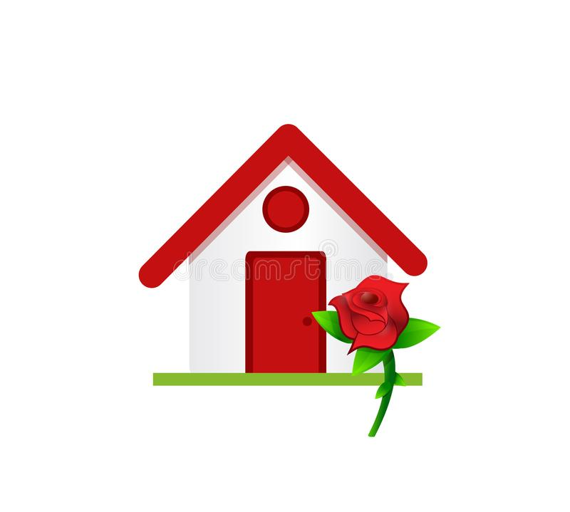 home with a flower royalty free illustration