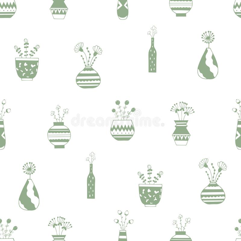 Home flowers in pots with green patterns stock illustration
