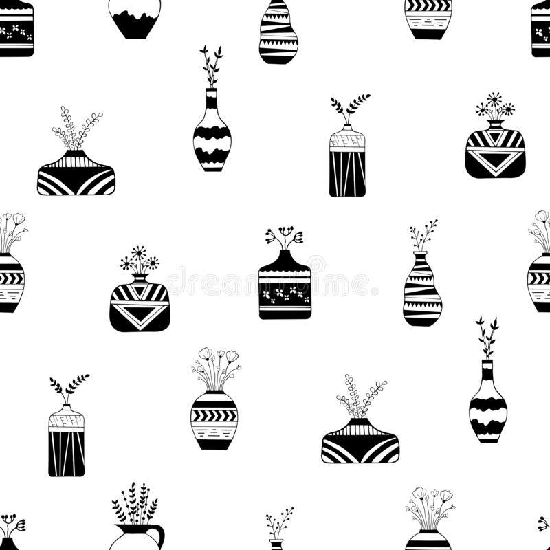 Home flowers in vases with black patterns stock illustration