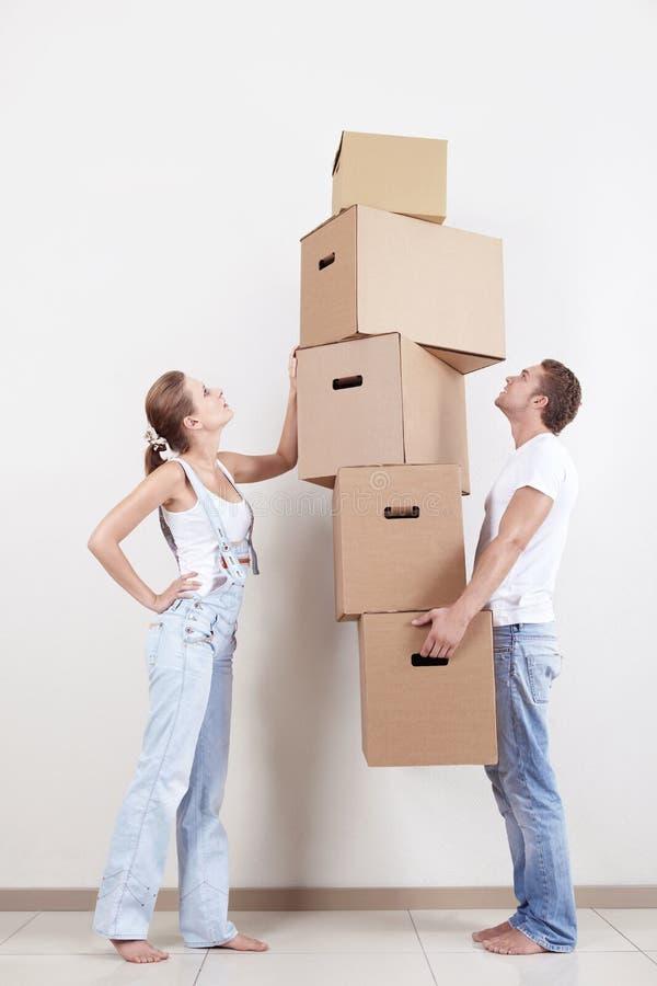 home flytta sig som är nytt till arkivfoto