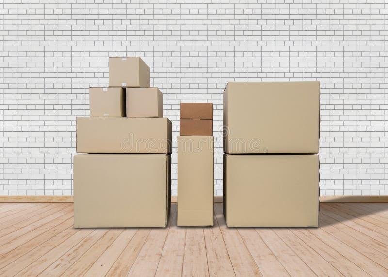 home flytta sig som är nytt Tomt rum med lådaaskar arkivfoton