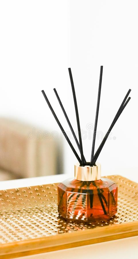 Home fragrance bottle, european luxury house decor and interior design details. Air freshener, reed diffuser and aromatherapy concept - Home fragrance bottle stock photo