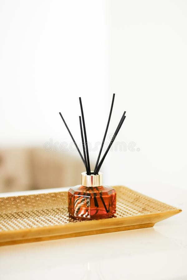 Home fragrance bottle, european luxury house decor and interior design details. Air freshener, reed diffuser and aromatherapy concept - Home fragrance bottle stock photos