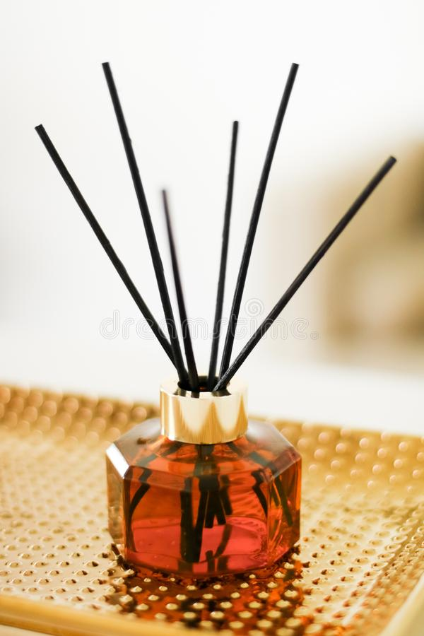 Home fragrance bottle, european luxury house decor and interior design details. Air freshener, reed diffuser and aromatherapy concept - Home fragrance bottle royalty free stock photography