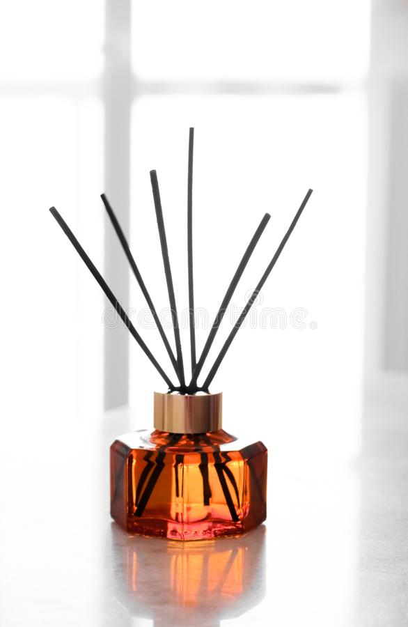 Home fragrance bottle, european luxury house decor and interior design details. Air freshener, reed diffuser and aromatherapy concept - Home fragrance bottle stock image