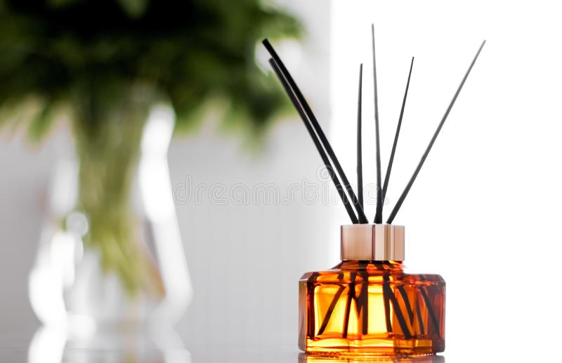 Home fragrance bottle, european luxury house decor and interior design details. Air freshener, reed diffuser and aromatherapy concept - Home fragrance bottle stock images