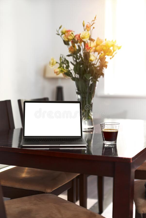 Free Home Freelance Desktop With Open Laptop Computer, Cup Of Coffee, Business Person Net-book With Blank Screen For Royalty Free Stock Image - 192278336