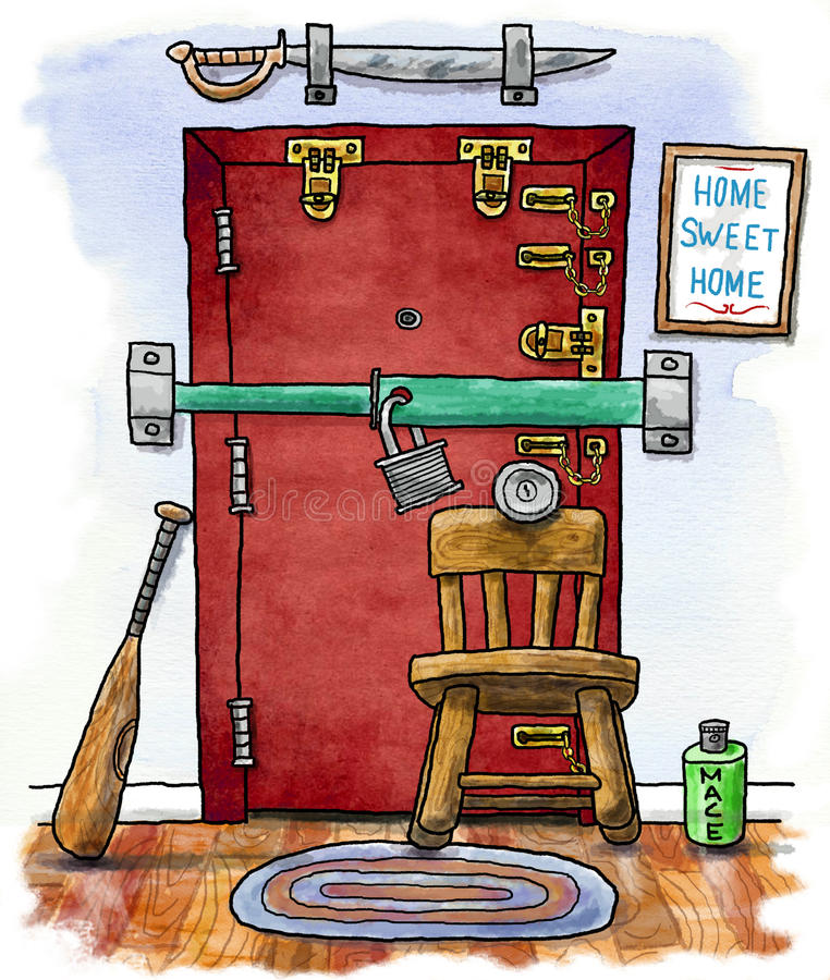 Home Front Door Security. Cartoon illustration of door with many locks and weapons