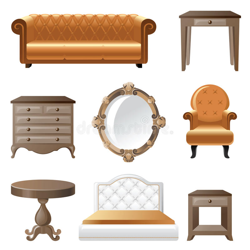 Home furniture. Retro-styled home furniture icons set vector illustration