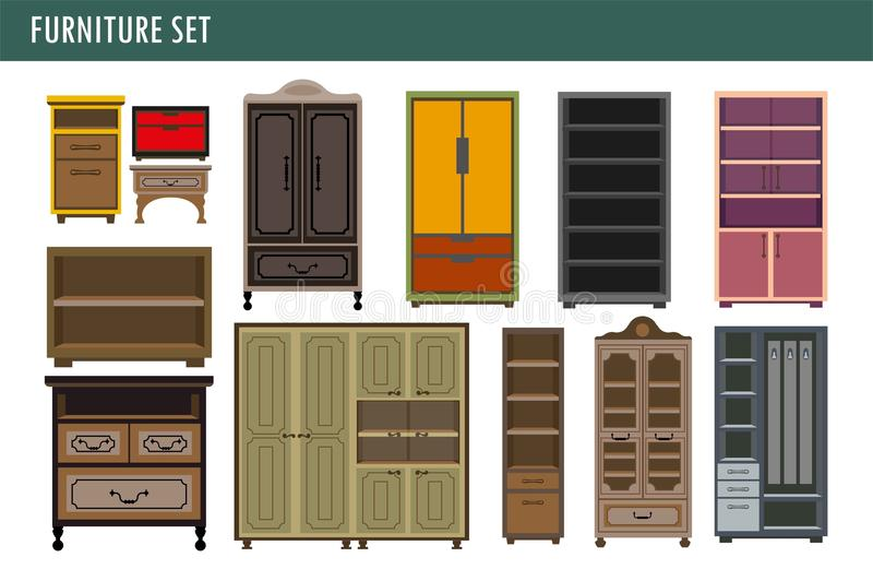 Home furniture cabinet bookcase lockers, wardrobe cupboard and drawer chest vector icons. Furniture cabinet bookcase cupboards, wardrobes and wooden kitchen royalty free illustration