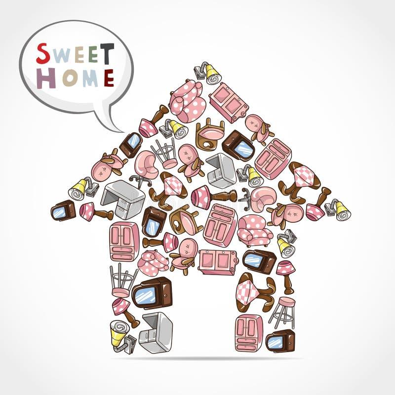 Home furniture card vector illustration