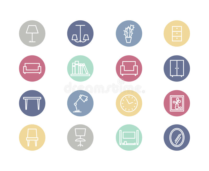 Home furniture flat icons vector illustration