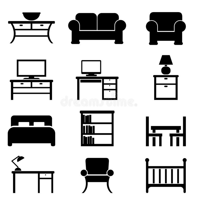Home Furniture Icons Stock Vector. Illustration Of