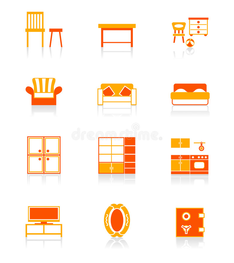 Home furniture icons   JUICY series royalty free illustration