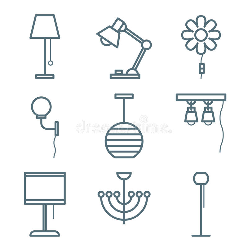Home Furniture Icons Set vector illustration